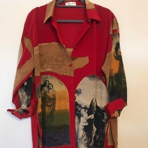 Vintage Mother Mary Printed Button Down